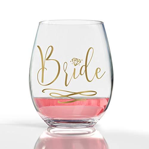 14K Gold Leaf Bride 19oz Stemless Wine Glass ()