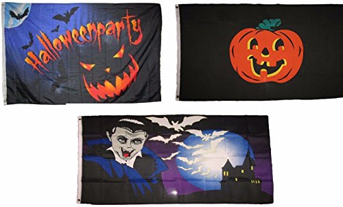 ALBATROS 3 ft x 5 ft Happy Halloween 3 Pack Flag Set #87 Combo Banner Grommets for Home and Parades, Official Party, All Weather Indoors Outdoors]()