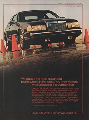 Magazine Print Ad: 1986 Lincoln Continental Mark VII,