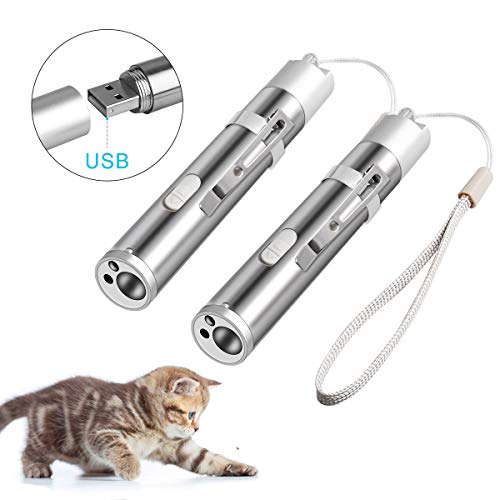 Coolrunner 2 Pack USB Rechargeable Cat Toys, Cat Chaser Toy Pet Training Exercise Chaser Tool, 3 in 1 Cat Interactive…