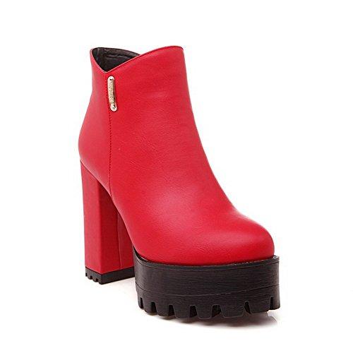 AllhqFashion Womens High Heels Solid Round Closed Toe Zipper Boots Red y17hvHei6