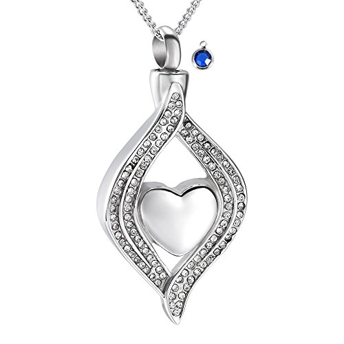 Crystal Inlay Heart Eye Cremation Urn Necklace Ashes Keepsake Pendant Memorial Jewelry+Fill Kit (December) December Kit