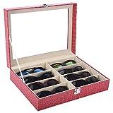 Autoark Leather 8 Piece Eyeglasses Storage and Sunglass Glasses Display Case Organizer,Rose,AW-032