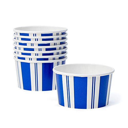 Awning Paper Blue (Caspari Awning Stripe Paper Candy & Dessert Treat Cups in Blue & White, 24 Included)
