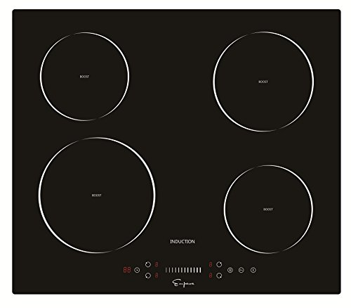 Empava EMPV-IDC24 Electric Induction Cooktop with 4 Booster Burners Smooth Surface Black Tempered Glass, 24 Inch