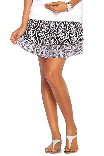 Due Maternity Abigail Pregnancy And Beyond Tiered Skirt - Black/White - X-Small
