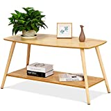 Giantex Coffee Table Rectangular Side Table End Table W/Solid Wood Legs Open Storage Shelf Home Living Room Furniture