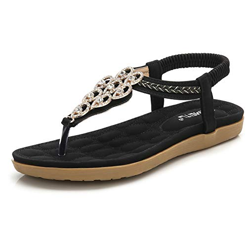 Women's Summer Glitter Thong Flat Sandals, Black Holiday T-Strap Flip Flops Bohemian Floral Rhinestones Jewels Comfy Elastic Back Strap, Anti Skid Cushioned Low Top Beach Wear Shoes Evening Party