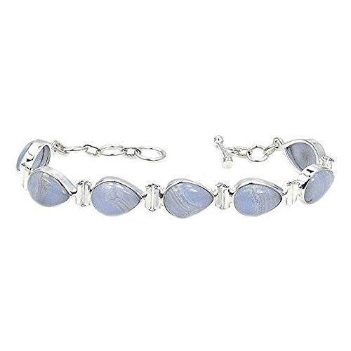 Blue Lace Agate Bracelet Sterling Silver & Blue Lace Agate Bracelet, Adjustable From 6.5