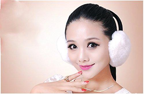 Rex Rabbit Fur Erica Earmuffs Ear Muffs Multicolors (White) by URSFUR (Image #3)
