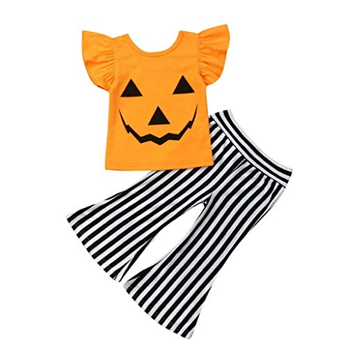 Little Girls Halloween Pants Sets Toddler Kids Pumpkin Ruffle Short Sleeve T-Shirt + Striped Pant 2PCS Outfits Clothes Orange