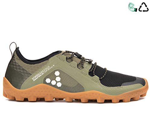 (Vivobarefoot Mens Primus Trail Soft Ground Olive Mesh Trainers 44 EU)
