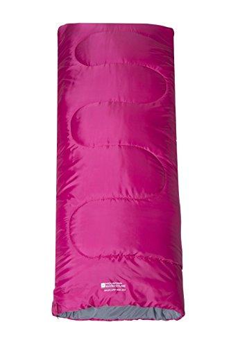Mountain Warehouse Kids Basecamp 200 Sleeping Bag - 700kg, Season 1 Sleeping Bag with Extreme Temp 6C & Comfort Temp 15C - Perfect as spring or summer sleeping bag Pink