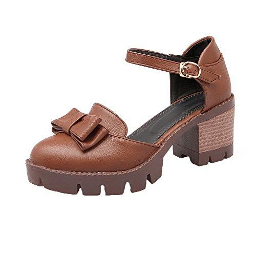 Pu WeenFashion Solid DarkBrown Pumps Shoes Buckle Heels Kitten Women's wqxTvCqI