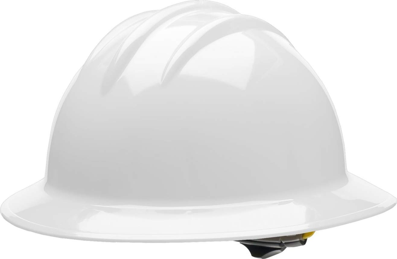 Bullard Classic Full Brim Hard Hat with 6 Point Ratchet Suspension and Wide Profile, White