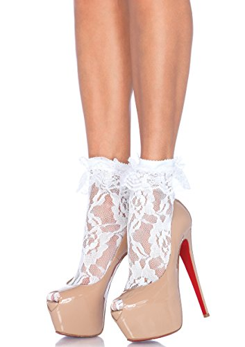 (Leg Avenue Womens Ruffle Cup Lace Anklet Socks)