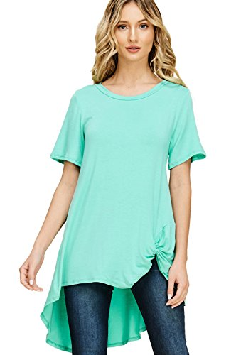 Annabelle Women's Plus Size Solid Front Knot Short Sleeved Round Necked Soft and Snugged Material Top Seafoam XXX-Large T1179