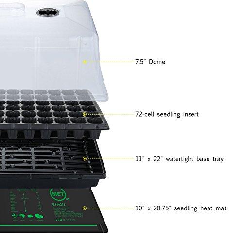 Growneer 10'' x 20'' Waterproof Seedling Heat Mat 7.5'' Dome Germination Station Combo Kit by GROWNEER (Image #1)