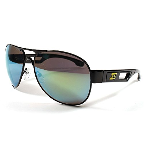 Designer Modern Green Mirrored Lens Mens Womens Air Force Style Black - Warrior Sunglasses Road