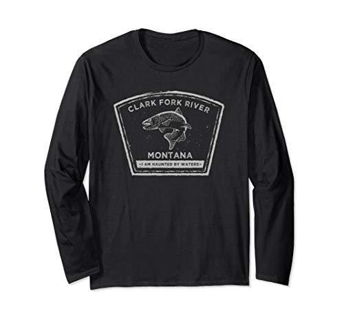 Clark Fork River Montana Fly Fishing Long Sleeve T-Shirt ()