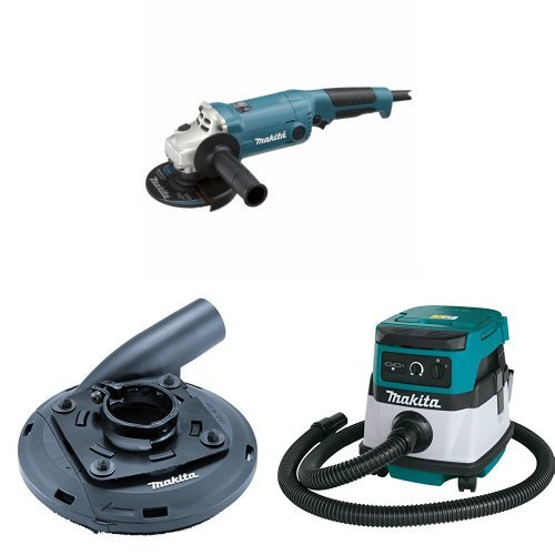 Makita GA5020Y 5-Inch Angle Grinder with Super Joint System  with Makita 195236-5 4-1/2-Inch - 5-Inch Dust Shroud  with Makita XCV04Z 18V X2 LXT Lithium-Ion Cordless/Corded Dry Vacuum, 2.1 gallon