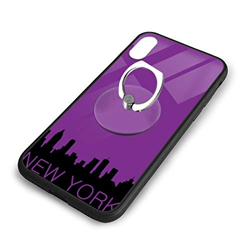 iPhone X Plus Cover New York City Case with Finger Ring Stand XS Phone Kickstand Holder Shock Protective Basic Protector]()