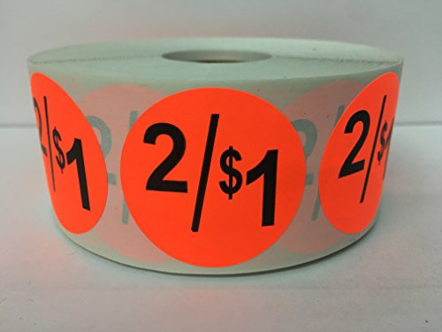 "1000 Labels 1.5"" Round Bright Red 2/$1 Discount Pricing Price Point Retail Stickers 1 Roll"