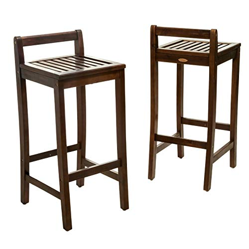 Top_Quality555 Set of 2 Natural Wood Outdoor Bar Stools Indoor 30 in Seat Height Patio Simple 34