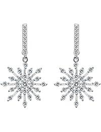 925 Sterling Silver Winter Snowflake Bridal Drop Earrings