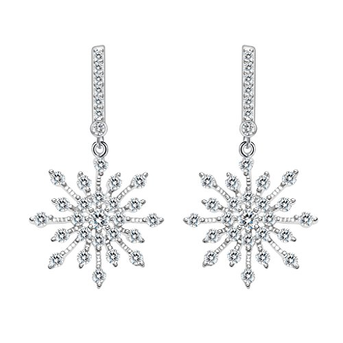 Snowflake Earrings - EleQueen 925 Sterling Silver Full Prong Cubic Zirconia Winter Snowflake Bridal Drop Earrings