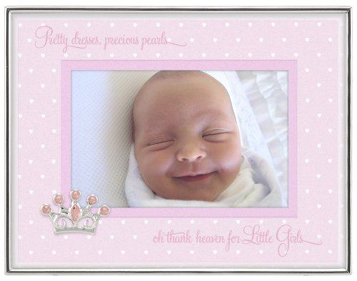 (Malden International Designs Baby Sentiments Girl Pink Mat With Silver Jeweled Crown Attachment Metal Shadowbox Picture Frame, 4x6, Silver)
