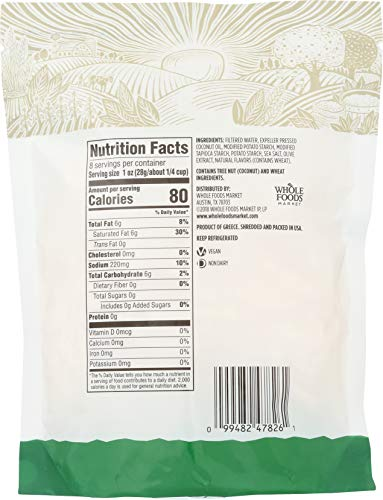365 by Whole Foods Market, Plant-Based Cheese Shreds, Mozzarella, 8 Ounce 4