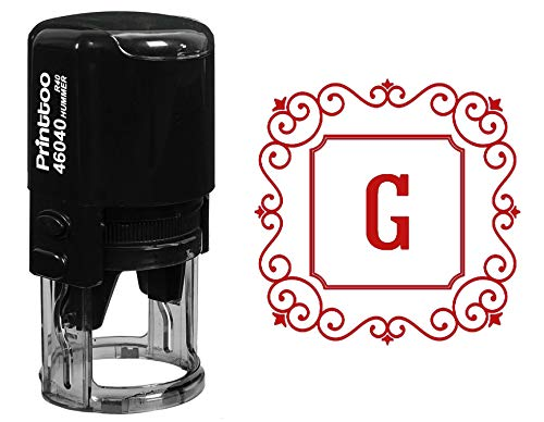 Printtoo G Alphabet Monogram Initial Square Swirl Border R-40 Self Inking Rubber Stamp Office Stationary ()