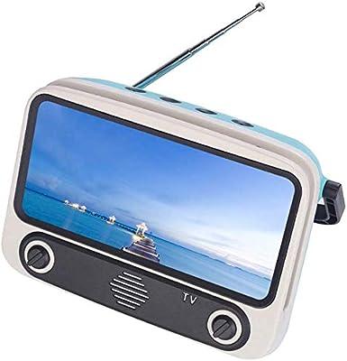iSunday Retro TV Altavoz Bluetooth, Altavoz Portátil Bluetooth con Teléfono Soporte Soporte Radio Conector Tarjeta Estéreo Equipo - Azul Cielo: Amazon.es: Hogar