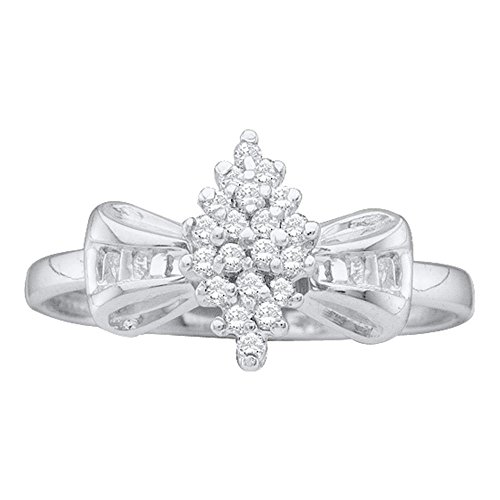 Round Baguette Diamond Cluster Ring - 10k White Gold Bowtie Diamond Cocktail Ring Cluster Band Round & Baguette Polished Fancy 1/10 ctw Size 8