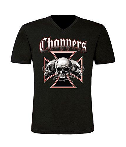 Choppers Skull Biker T-Shirt mit V-Ausschnitt