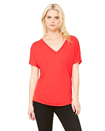 Bella + Canvas Women's Slouchy V-Neck T-Shirt, Red, M