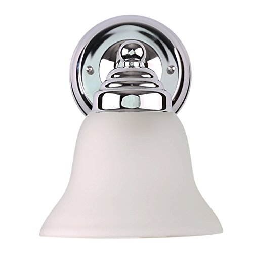 Vanity Glass Shade - 7Pandas 1-light Vanity Light, Interior Wall Sconce Bathroom Lighting Fixture W/Frosted Glass Shade, Polished Chrome