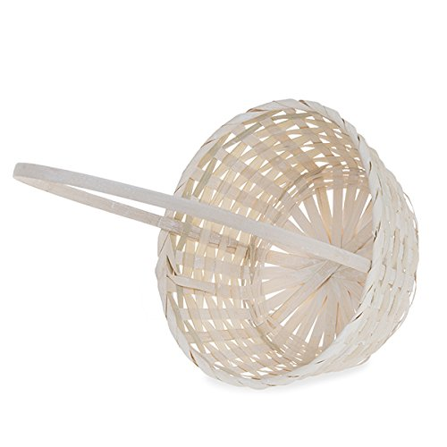 The Lucky Clover Trading Round Bamboo Handle Basket-9in Basket, White