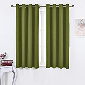 bedroom curtains panels functional blackout curtains panels for bedroom thermal insulated privacy assured 2 pieces 52 x 45 inch in olive green - Green Bedroom Curtains
