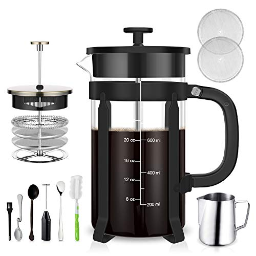 TAIKER French Press Coffee/Tea Maker(34 oz,8 cups) Heat Resistant Glass Stainless Steel Frame with Milk Frother,7 oz Frothing Pitcher,Stirring Spoon,Clean Brush & 2 Filter Screens (Black)