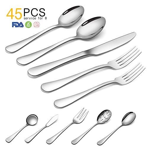 Silverware Set,SHARECOOK 45-Piece Stainless Steel Flatware Set with Serving Set,Kitchen Utensil Set Service for 4,Tableware Cutlery Set for Home and Restaurant, Dishwasher Safe by SHARECOOK