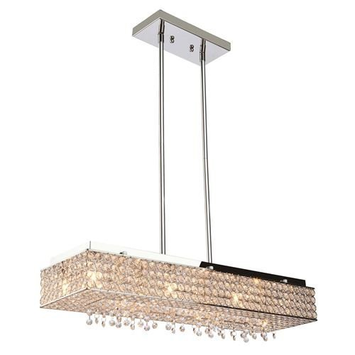 Cheap 8 Lights Crystal Linear Chandelier Crystal Pendant Rectangular Bella Vista Lighting Fixture Light 28″ Stainless Steel