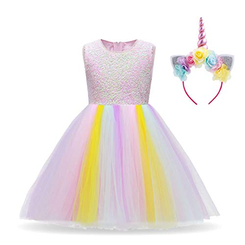 Baby Girls Toddler Unicorn Dress Sleeveless Princess Tulle Dress Wedding Birthday Party Gown Performance Costume R# Sequin Rainbow Long Dress+Headband 11-12 Years