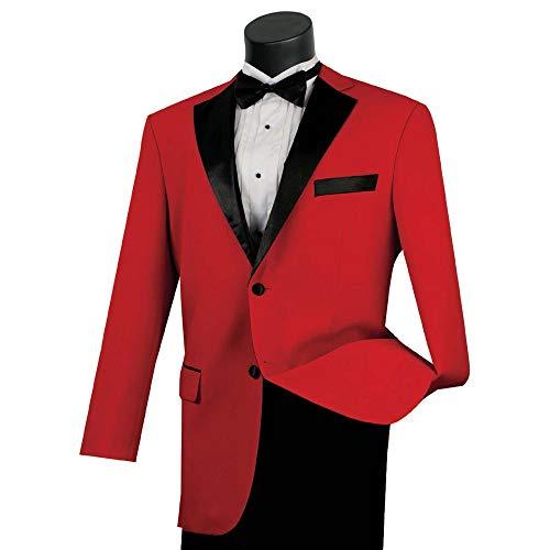 (Lucci Men's 2 Button Classic-Fit Formal Polyester Tuxedo Suit w/Black Sateen Lapel & Trim [Color: Red | Size: 40 Regular / 34 Waist])