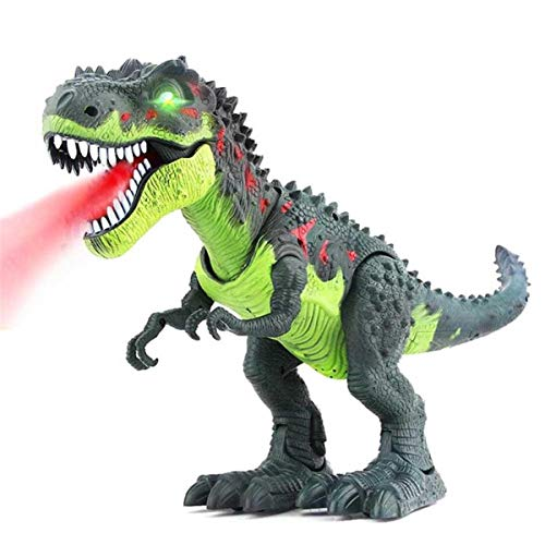 Kids Walking Electric Dinosaur Toys with Music Light Spray Large Size Walk Sounds Animals Model Toys for Children Recognization,Green -
