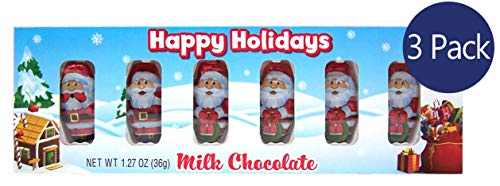 Milk Chocolate Santa Claus Christmas Stocking Stuffers, 1.27 Ounce, Pack of 3