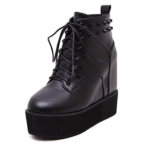 AllhqFashion Womens PU Blend Materials High-Heels Boots with Bandage and Heighten Inside Black R3npv