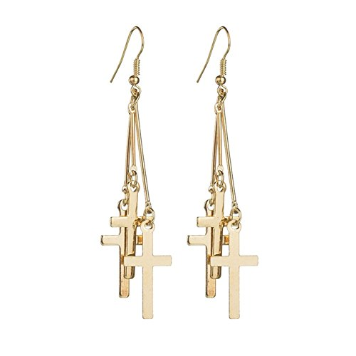 (18K Gold Plated Vintage multi Three Cross Long Tassel Dangle Earrings)