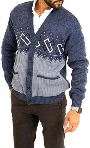 Louie James Mens Classic Zip and Button Up Gentleman Cardigan Long Sleeve Pattern Knitwear